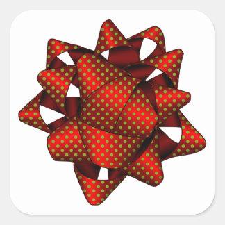 Arco punteado rojo, pegatinas cuadrados, pegatina cuadrada