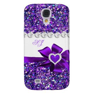 Arco púrpura con clase elegante del monograma de l funda para galaxy s4