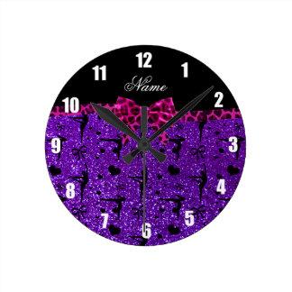 Arco púrpura conocido de encargo del rosa de la reloj de pared