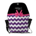 Arco púrpura conocido personalizado del rosa de lo bolsa de mensajeria