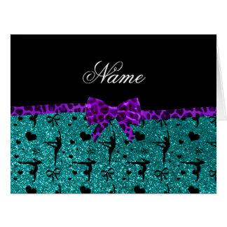 Arco púrpura de la aguamarina de la gimnasia tarjeta de felicitación grande