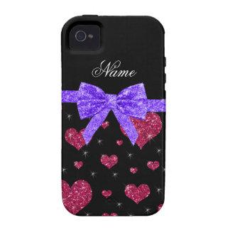 Arco púrpura de los corazones rosados conocidos de vibe iPhone 4 funda