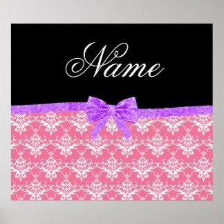 Arco púrpura del brillo del damasco rosado conocid póster
