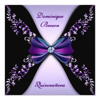 """Arco púrpura elegante Quinceanera del diamante Invitación 5.25"""" X 5.25"""""""