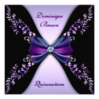 Arco púrpura elegante Quinceanera del diamante neg