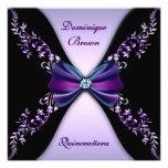 Arco púrpura elegante Quinceanera del diamante neg Comunicados Personalizados