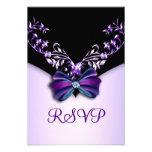 Arco púrpura elegante RSVP del diamante negro Invitacion Personalizada