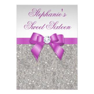 Arco púrpura lentejuelas de plata atractivas del d comunicados personalizados