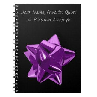 Arco púrpura, regalo, día de fiesta libretas espirales