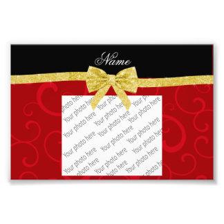 Arco rojo conocido de encargo del brillo del oro d impresiones fotograficas