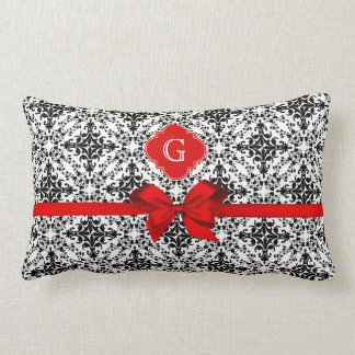 Arco rojo de la etiqueta roja blanca negra del dam almohadas