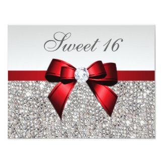 """Arco rojo de los falsos diamantes de plata de las invitación 4.25"""" x 5.5"""""""