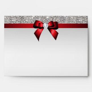 Arco rojo de los falsos diamantes de plata de las sobres