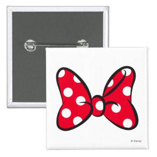 Arco rojo de moda del lunar de Minnie el | Pin Cuadrado