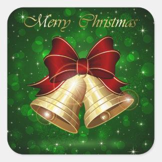 Arco rojo de oro de Belces de navidad Pegatina Cuadrada