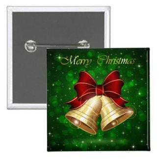 Arco rojo de oro de Belces de navidad Pin Cuadrado