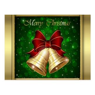 Arco rojo de oro de Belces de navidad Tarjeta Postal