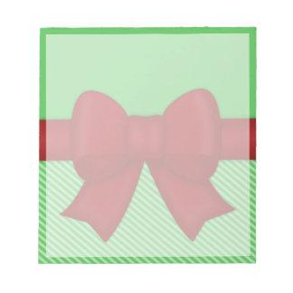 Arco rojo del día de fiesta blocs de papel