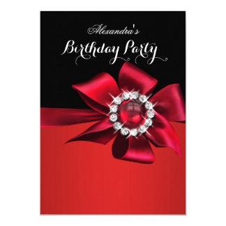 """Arco rojo del diamante de la perla de la fiesta de invitación 5"""" x 7"""""""