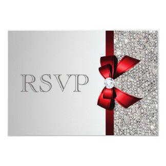"""Arco rojo del diamante de plata de las lentejuelas invitación 3.5"""" x 5"""""""