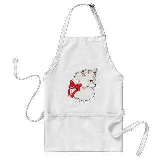 Arco rojo del gato blanco delantal