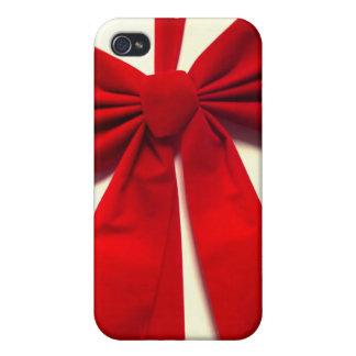 Arco rojo del navidad de la cinta iPhone 4/4S fundas