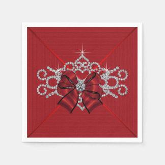 Arco rojo elegante del diamante servilletas de papel