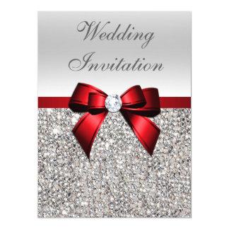 """Arco rojo lentejuelas de plata grandes del boda de invitación 6.5"""" x 8.75"""""""