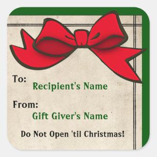 Arco rojo (personalizado) A-De Christmas Sticker Pegatina Cuadrada