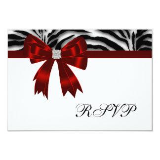 Arco rojo RSVP de la cebra roja Invitación 8,9 X 12,7 Cm