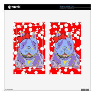 Arco rojo sonriente de Boston Terrier Skin Para Kindle Fire