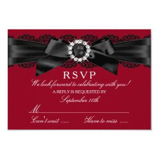 """Arco rojo y negro RSVP de Borgoña del cordón y de Invitación 3.5"""" X 5"""""""