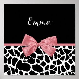 Arco rosado atractivo del estampado de girafa de póster