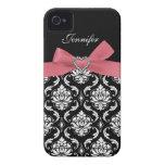 Arco rosado con el caso del iPhone del damasco iPhone 4 Case-Mate Carcasas