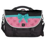 Arco rosado conocido personalizado de la turquesa  bolsas de portátil