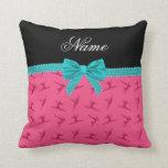 Arco rosado conocido personalizado de la turquesa  almohadas