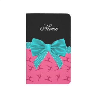 Arco rosado conocido personalizado de la turquesa  cuadernos grapados