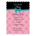 Arco rosado conocido personalizado de la turquesa invitación 12,7 x 17,8 cm