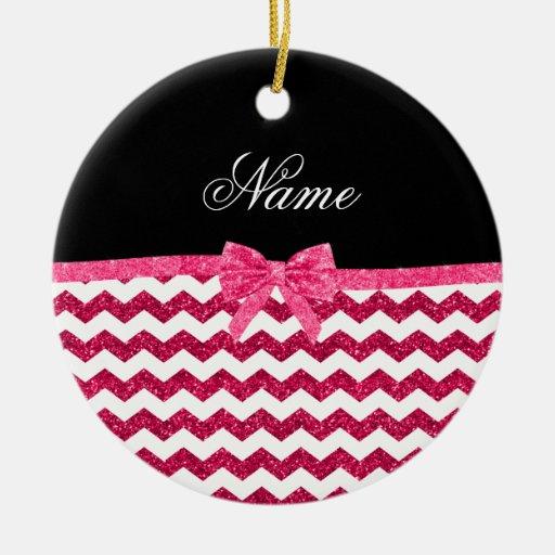 Arco rosado conocido personalizado de los galones adorno navideño redondo de cerámica
