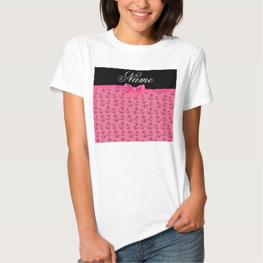 Arco rosado conocido personalizado del brillo del tshirt