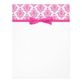 Arco rosado elegante de la cinta del damasco plantilla de membrete