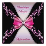Arco rosado elegante Quinceanera del diamante Invitaciones Personalizada