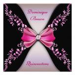 Arco rosado elegante Quinceanera del diamante negr Invitaciones Personalizada