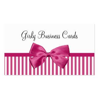 Arco rosado lindo brillante femenino de las rayas tarjetas de visita