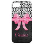 Arco rosado lindo en el damasco y cuero y nombre iPhone 5 protector