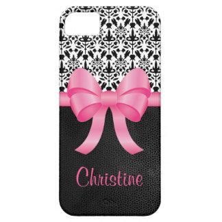 Arco rosado lindo en el damasco y cuero y nombre n iPhone 5 protector