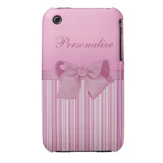 Arco rosado lindo en el modelo de las rayas Case-Mate iPhone 3 carcasa
