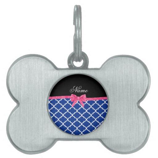 Arco rosado marroquí azul conocido de encargo del  placa de mascota