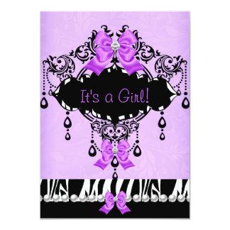 "Arco rosado púrpura de la cebra de la niña de la invitación 4.5"" x 6.25"""