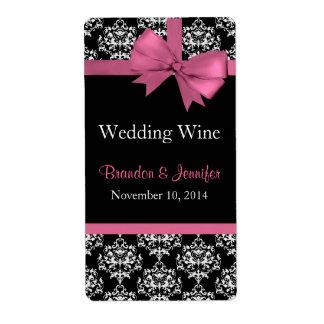 Arco rosado y damasco que casan mini etiquetas del etiquetas de envío